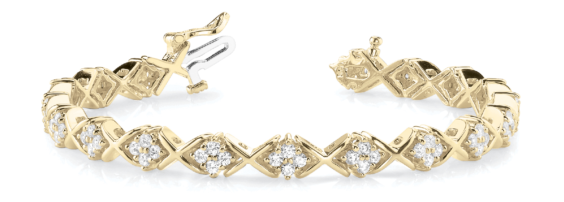 2.16 Carat Round Diamond Cluster XO Bracelet Yellow Gold