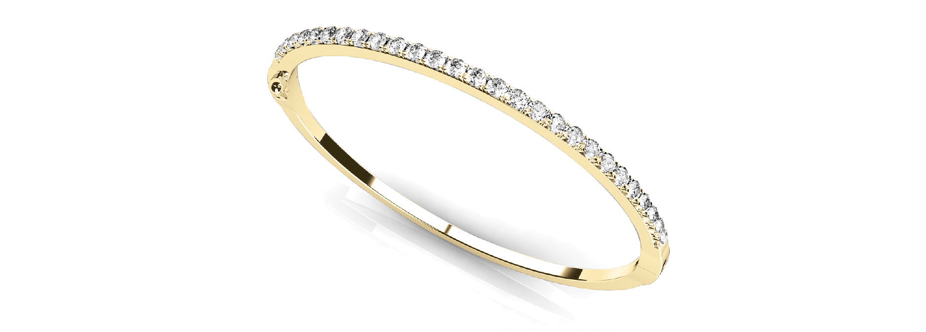 Round Diamond Yellow Gold Bangle 1.45 Ct