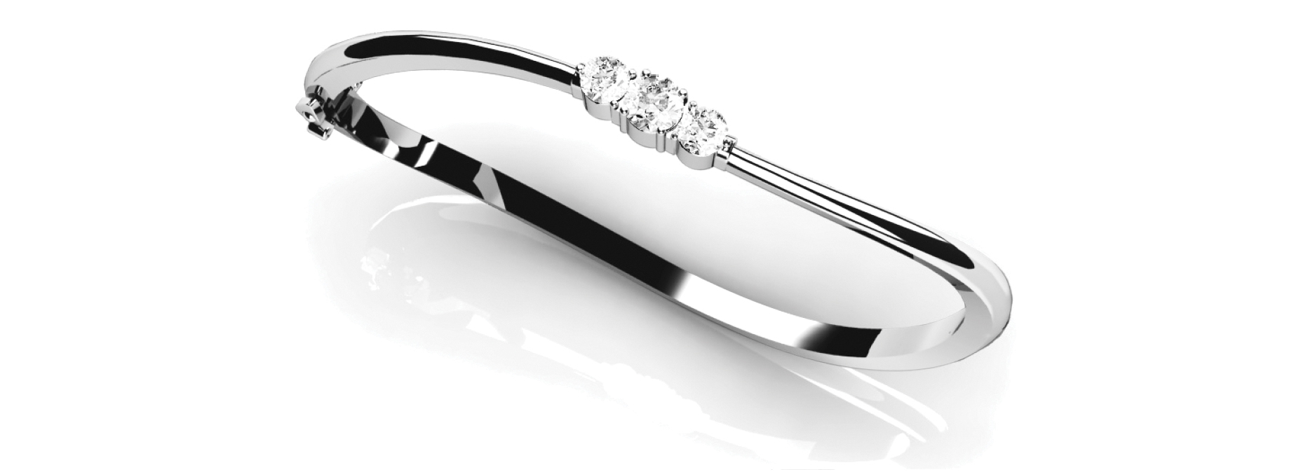Round Diamond Platinum Bangle 1 Ct