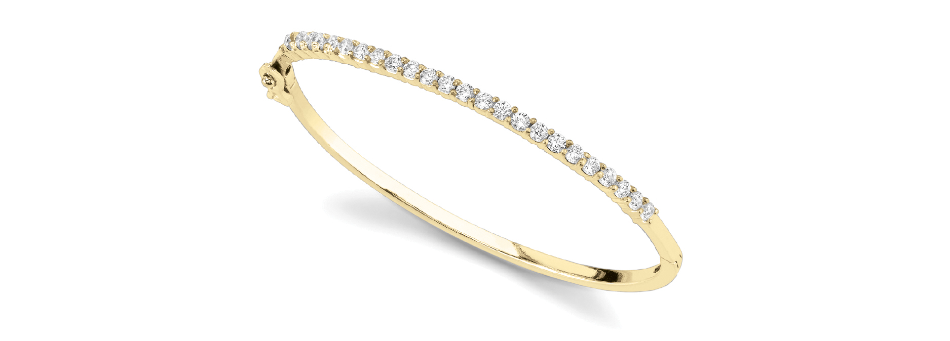 1.44 Carat Round Diamond Bangle in Yellow Gold