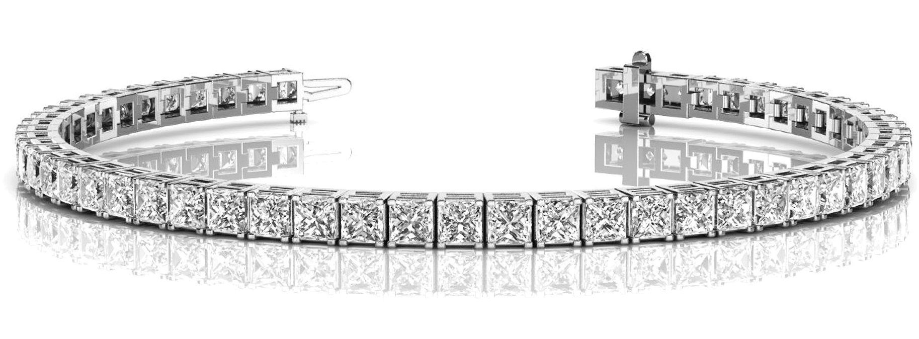 8.4 Carat Princess Diamond Tennis Platinum Bracelet