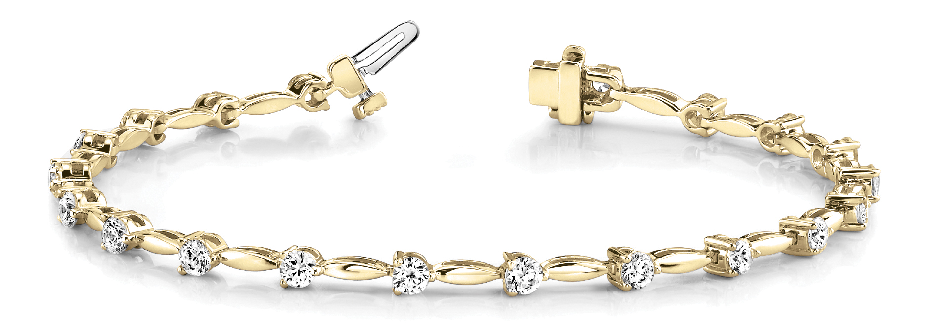 2 Ct Round Diamond Bar Link Bracelet Yellow Gold