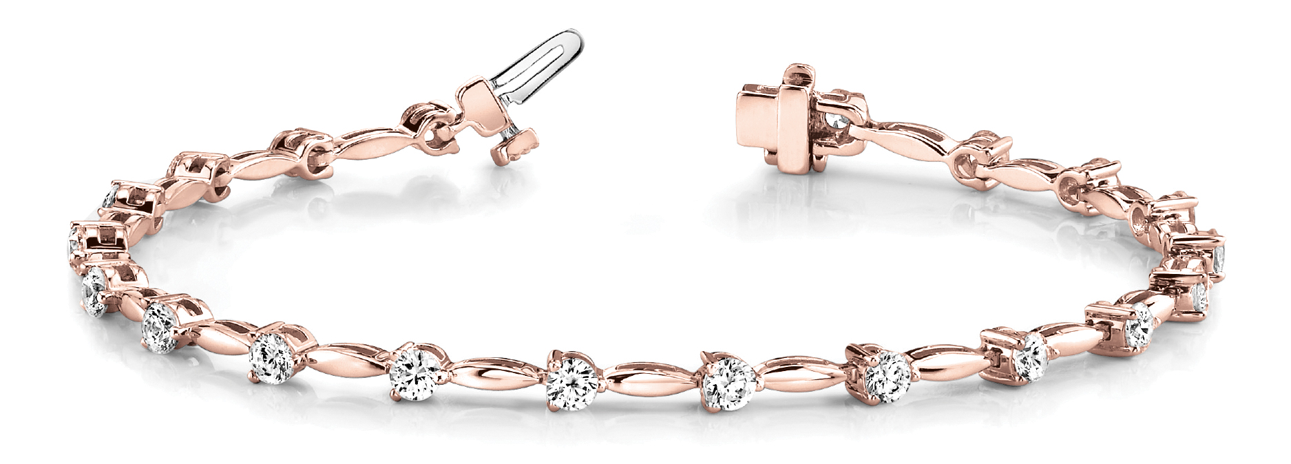 3.06 Ct Round Diamond Bar Link Bracelet Rose Gold