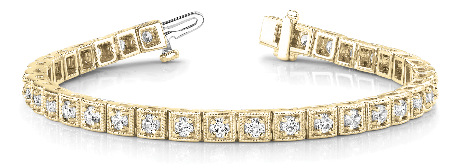 Round Diamond Square Tennis Bracelet 2 ct. Yellow Gold