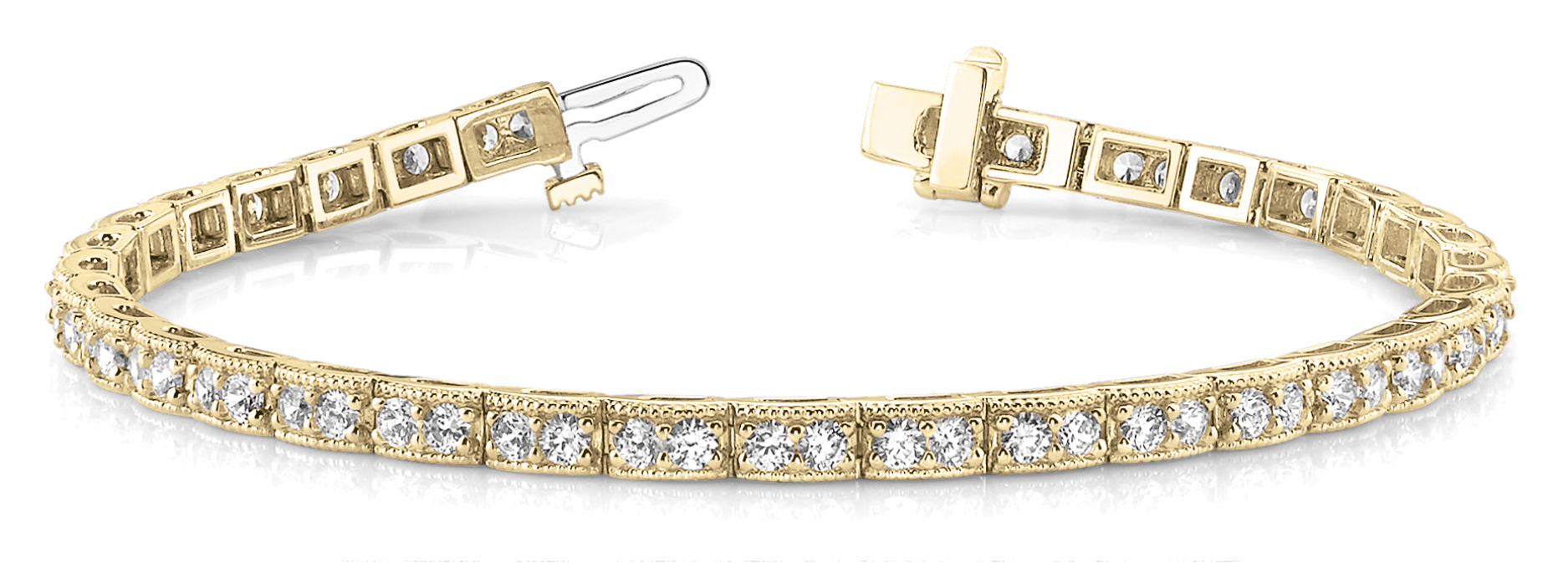Petite Duo Round Diamond Bracelet 3 ct. Yellow Gold