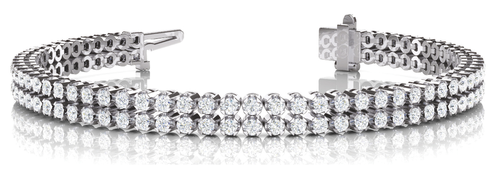 Multi Row Duo Round Diamond Bracelet 3.64 Ct.