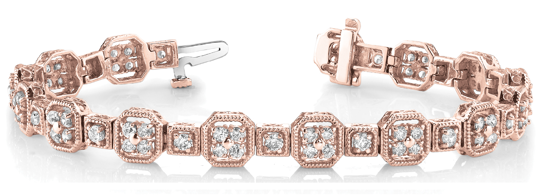 Octagon Rope Diamond Cluster Rose Gold Bracelet 4 ct.