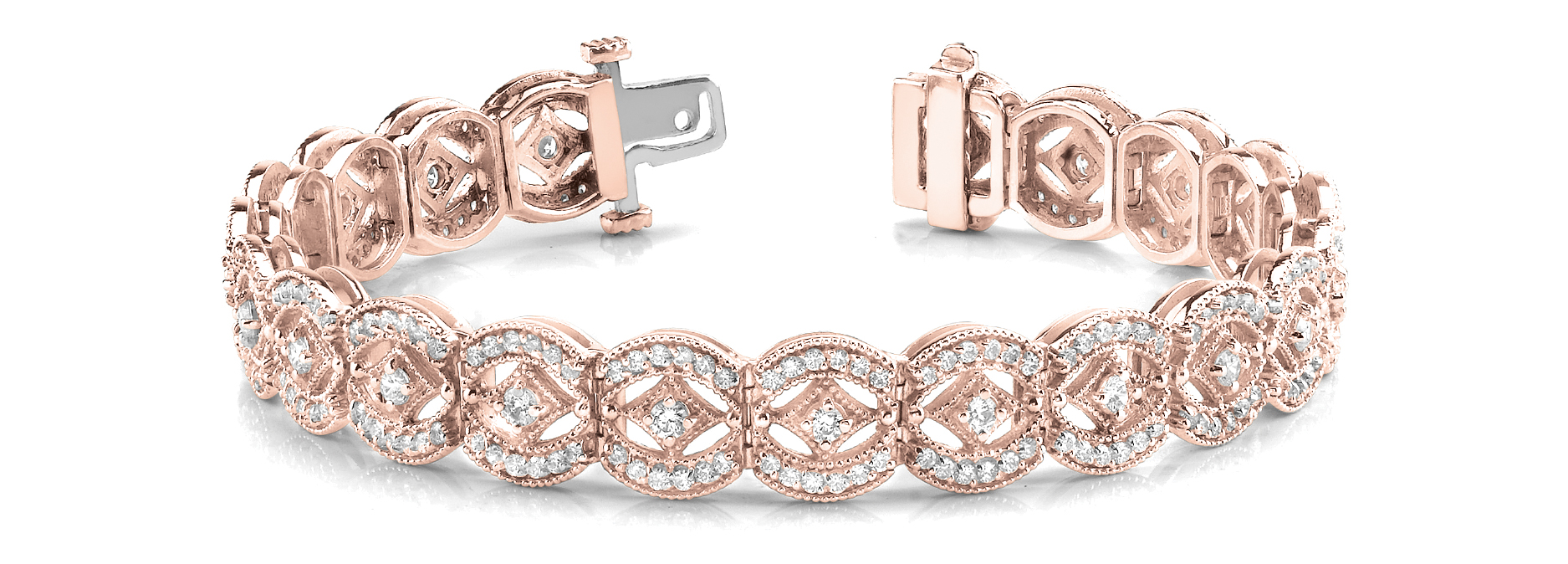Vintage Style Argyle Round Diamond Bracelet Rose Gold 4.0 CT.