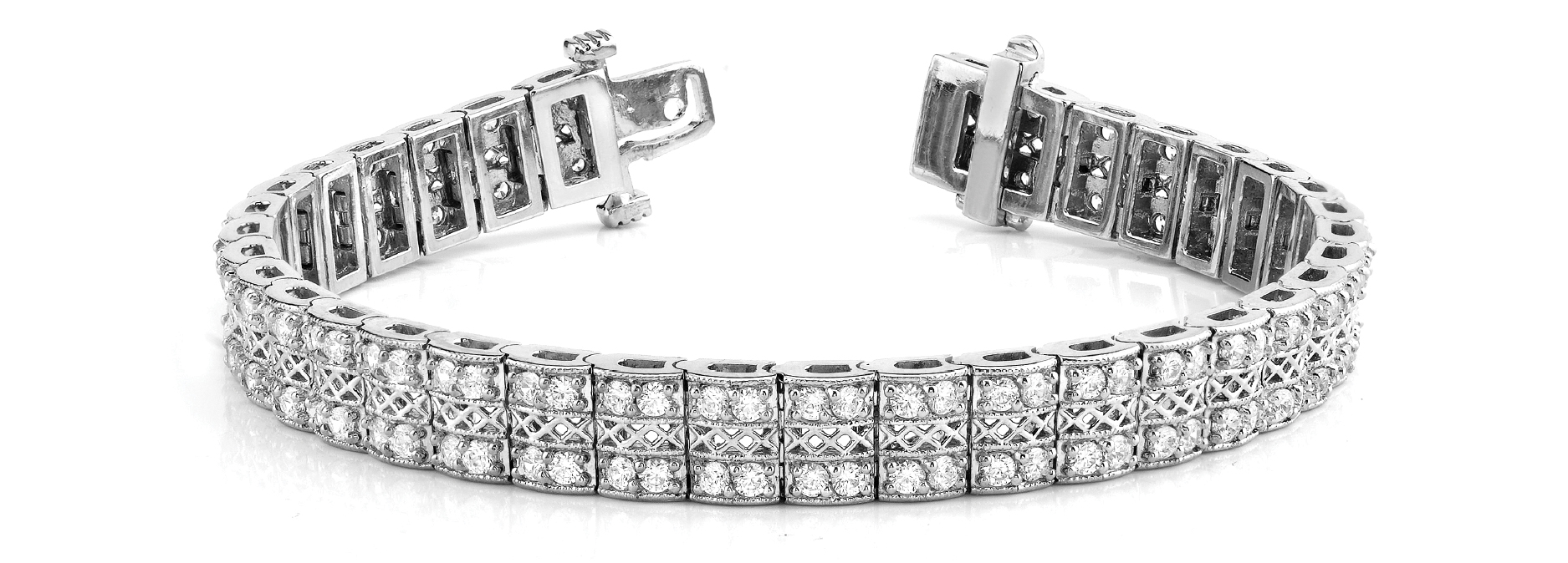 Multi Row Duo Round Diamond Filigree Bracelet 4.06 Ct. Platinum