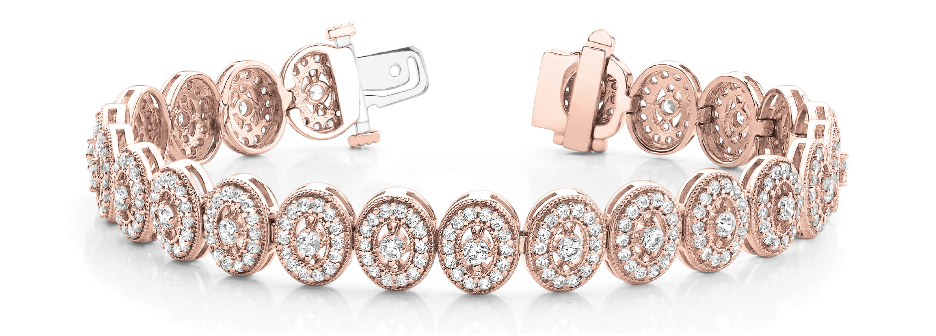 Oval Shaped Round Diamond Rose Gold Bracelet 5 ct.