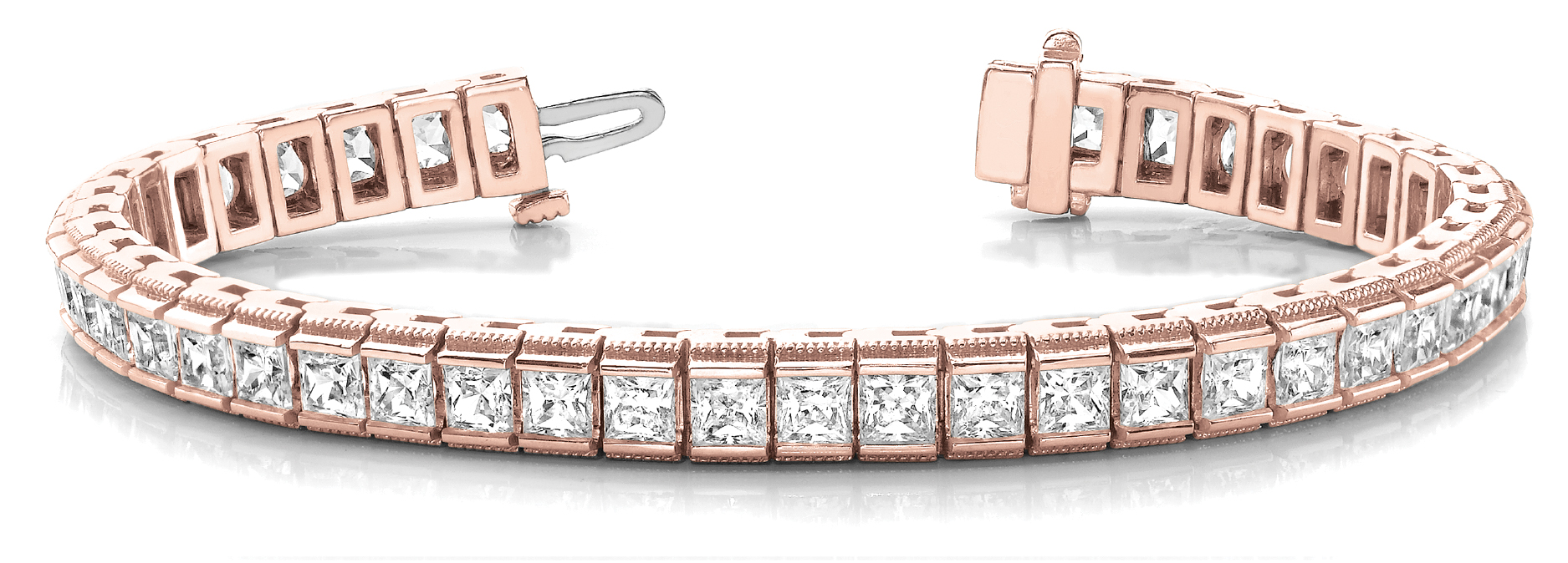 8.26 Carat Princess Diamond Channel Bracelet Rose Gold