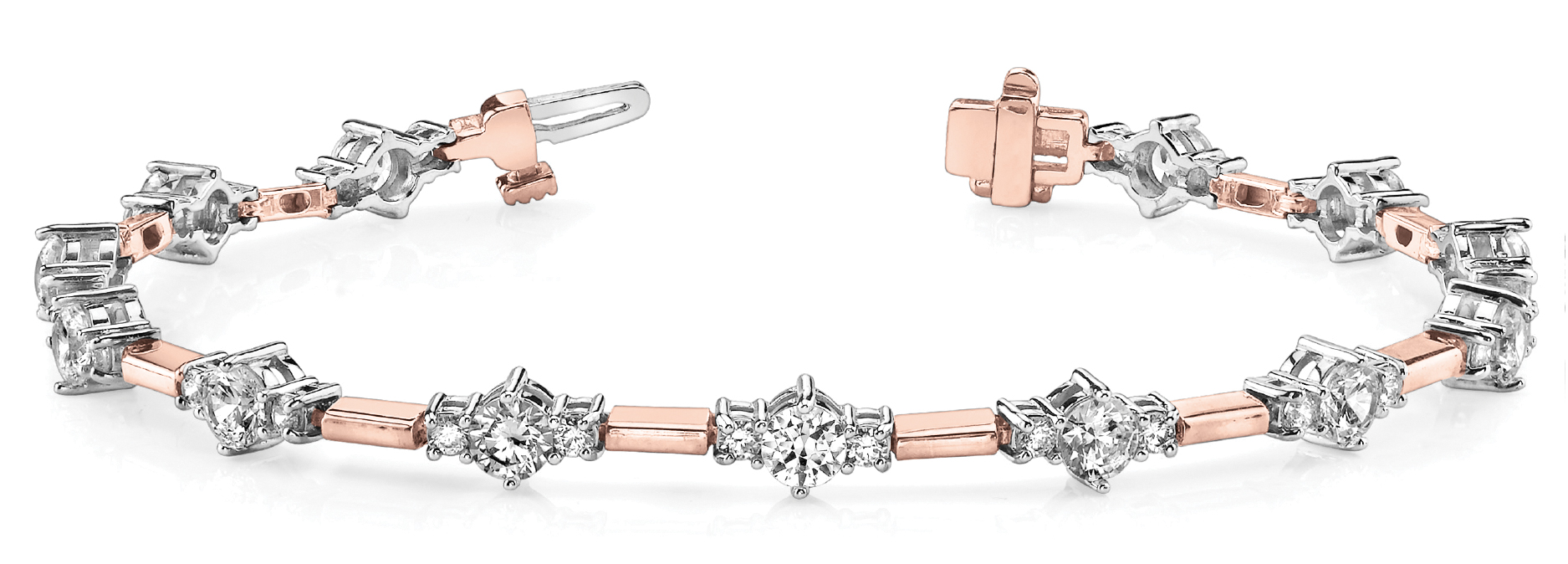 Three Stone Bar Link Bracelet 2.99 ct. Rose & White Gold