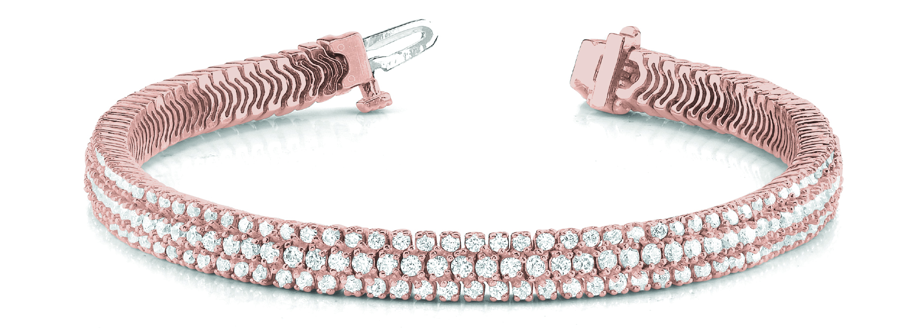 Multi Row Etoil Round Diamond Rose Gold Bracelet 6 Ct.