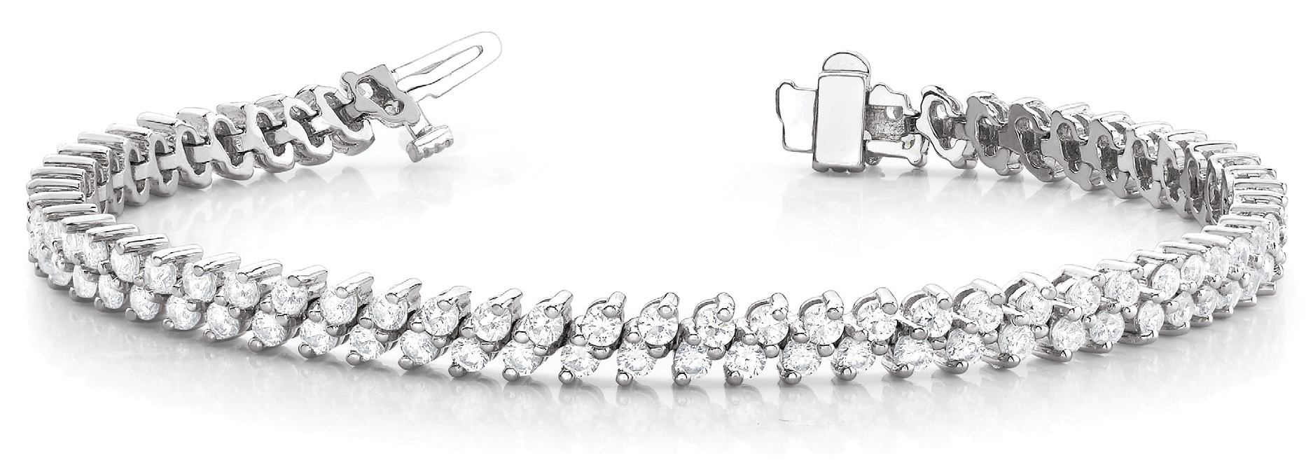 Diagonal Duo Round Diamond Bracelet 3.95 Ct.