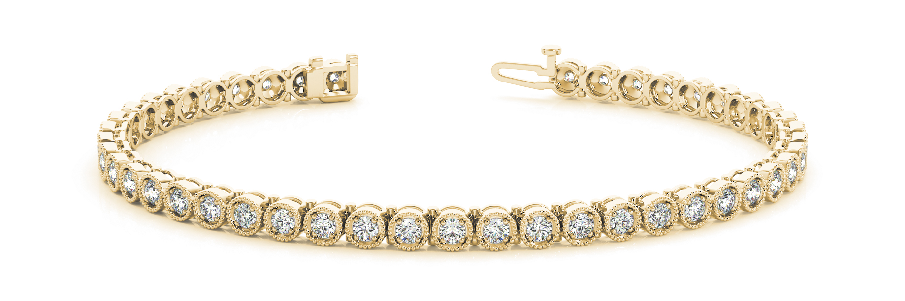 Vintage Style Round Diamond Yellow Gold Bracelet 0.90 Ct.