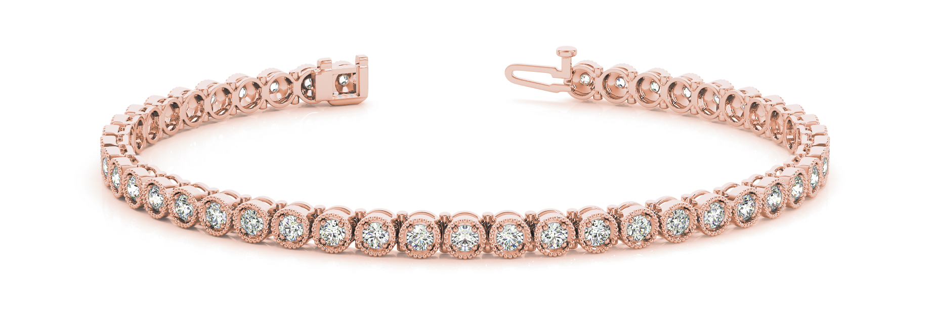 Vintage Style Round Diamond Bracelet Rose Gold 0.90 Ct.