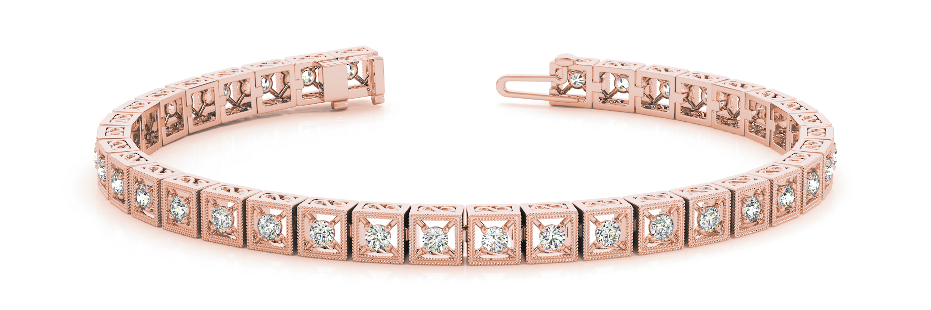 1.08 Carat Round Diamond Square Filigree Rose Gold Bracelet
