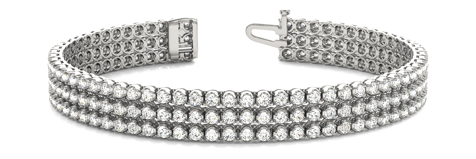 Three Row Round Diamond Bracelet 3.7 Ct.