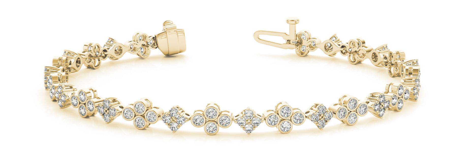 Bezel & Pong Set Floral Quad Diamond Bracelet Yellow Gold