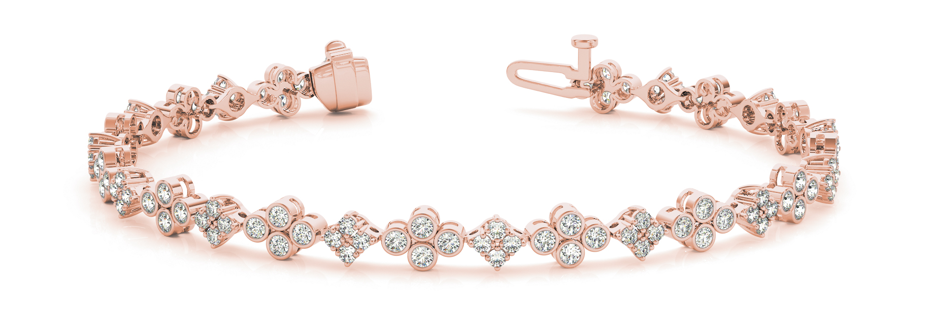 Bezel & Pong Set Floral Quad Diamond Bracelet Rose Gold