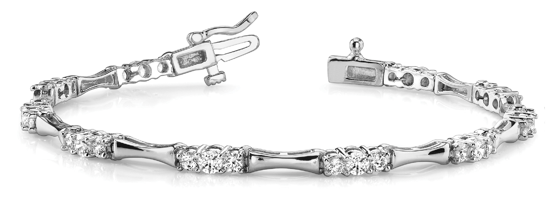 Three Stone Bar Link Bracelet 1.5 Carat