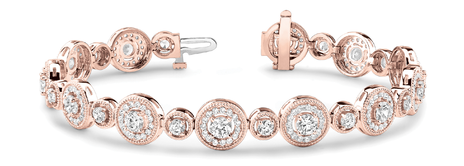 Round Diamond Halo Rose Gold Bracelet Milligrain 5.7 CT.