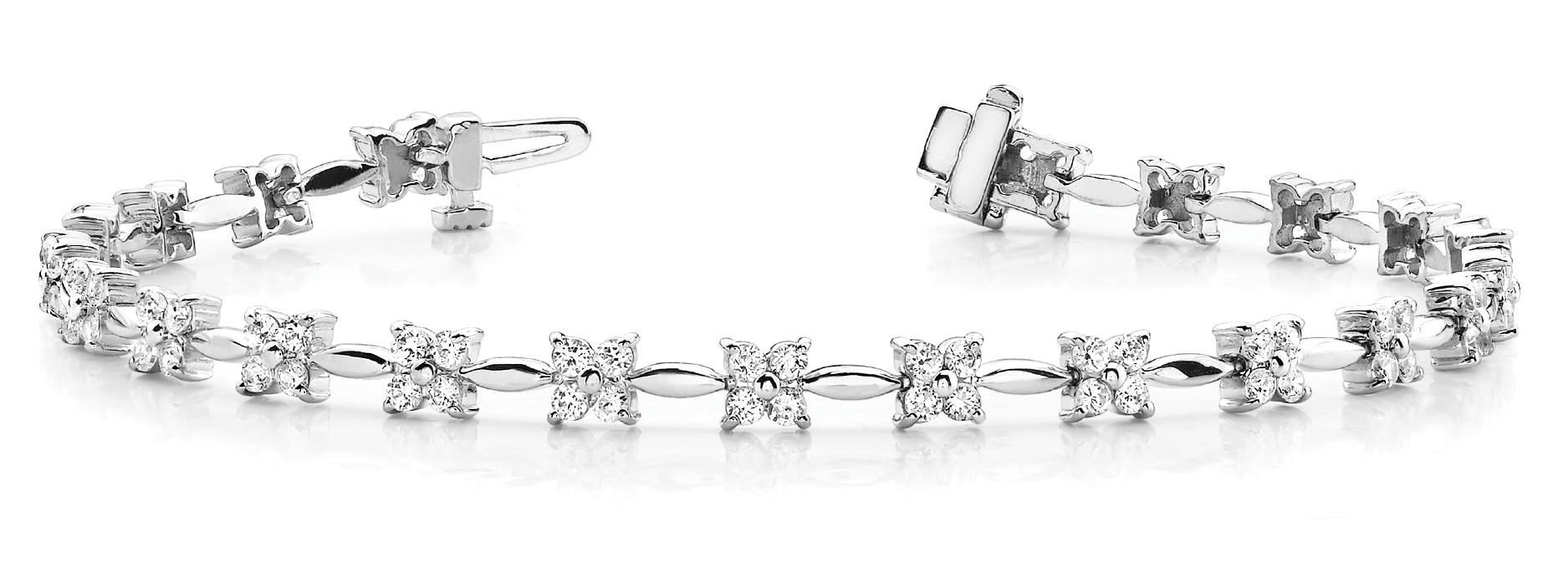 1.94 Ct Round Diamond Floral 4 Stone Bar Link Bracelet