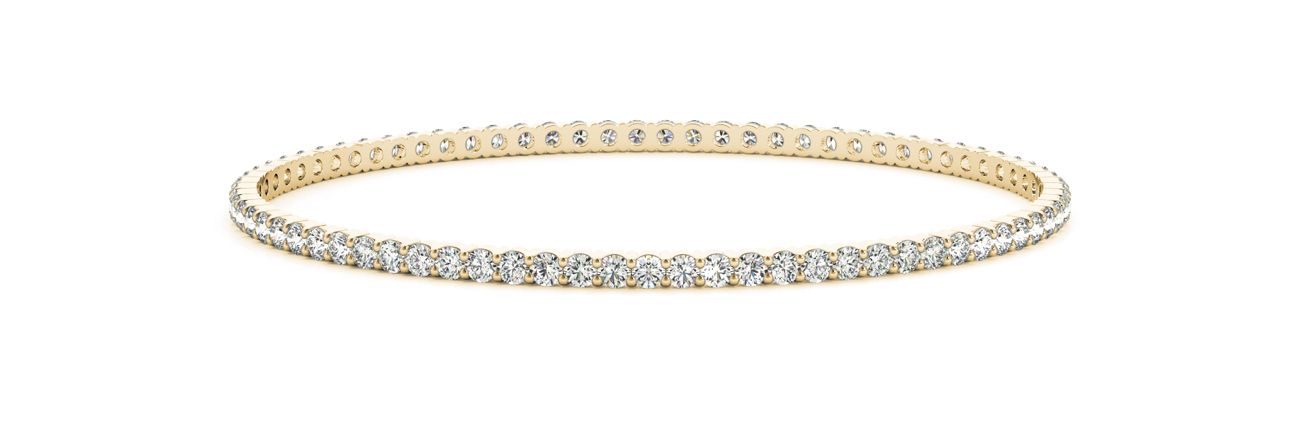 2.45 Carat Round Diamond Eternity Bangle in Yellow Gold