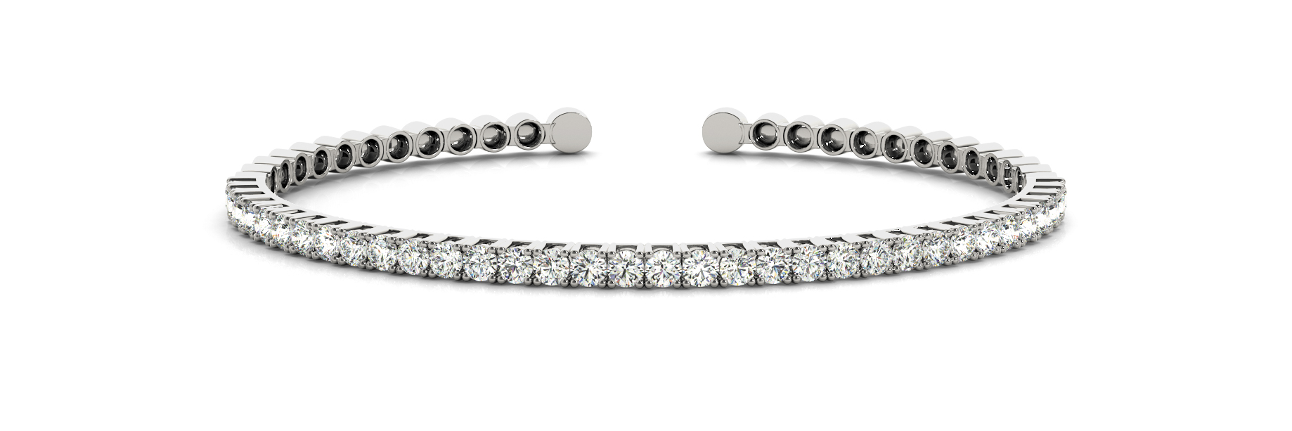 1.05 Carat Round Diamond Open Bangle in White Gold