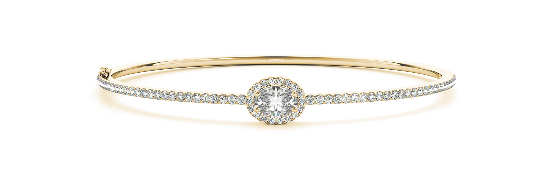 Oval Diamond Center Stone Halo Bangle Yellow Gold