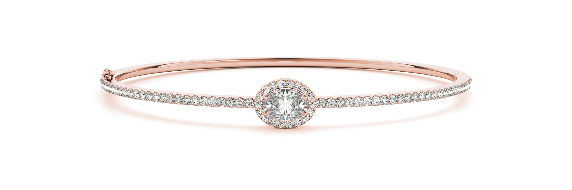 Oval Diamond Center Stone Halo Bangle Rose Gold