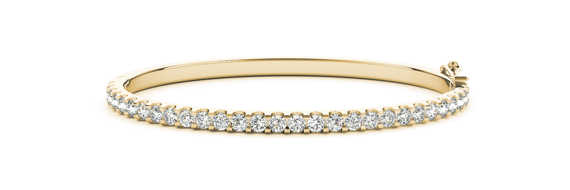 3.36 Carat Round Diamond Bangle in Yellow Gold