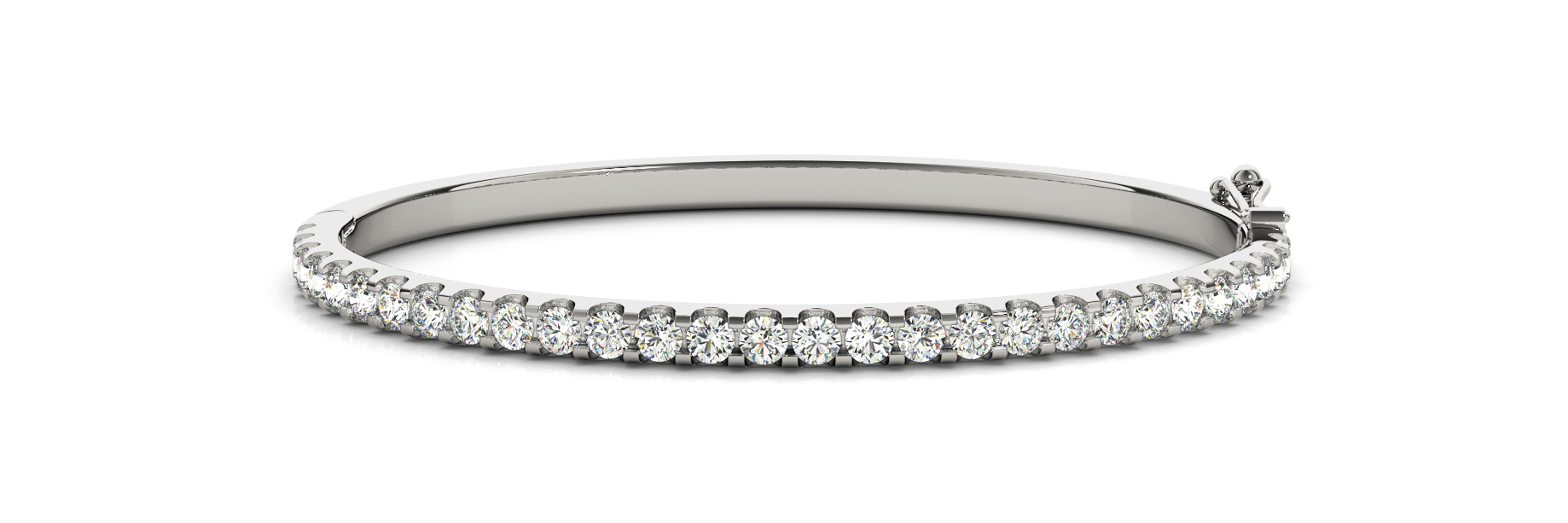 3.12 Carat Round Diamond Bangle in White Gold