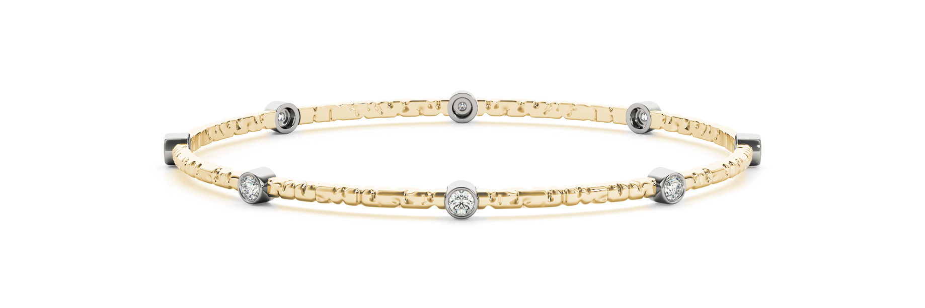 0.56 Carat Round Diamond Bangle in Yellow Gold