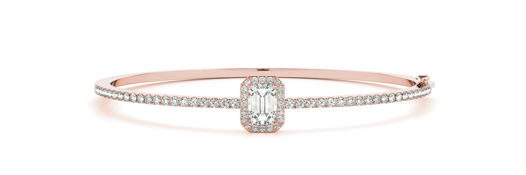 Emerald Diamond Center Stone Halo Bangle Rose Gold