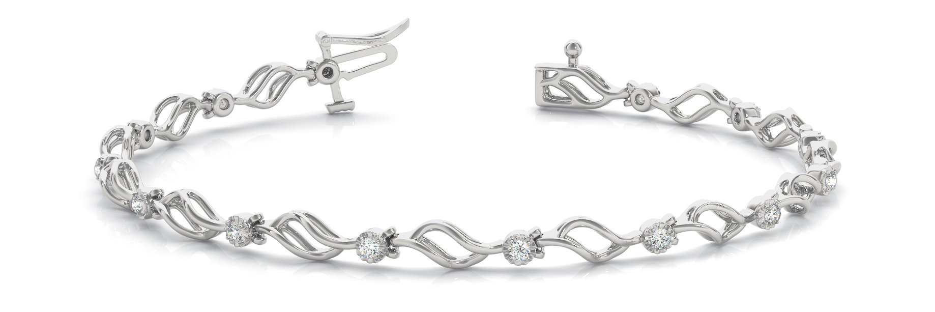 Flowing Leaves Diamond Bracelet 0.21 tcw