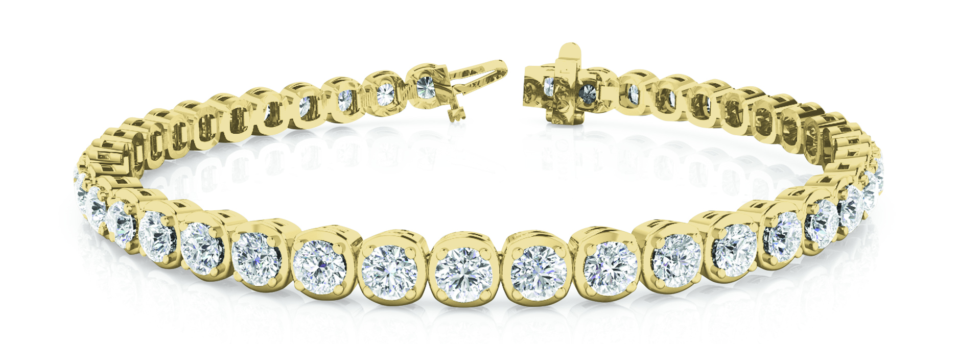 3 Carat Round Diamond Cushion Tennis Bracelet Yellow Gold