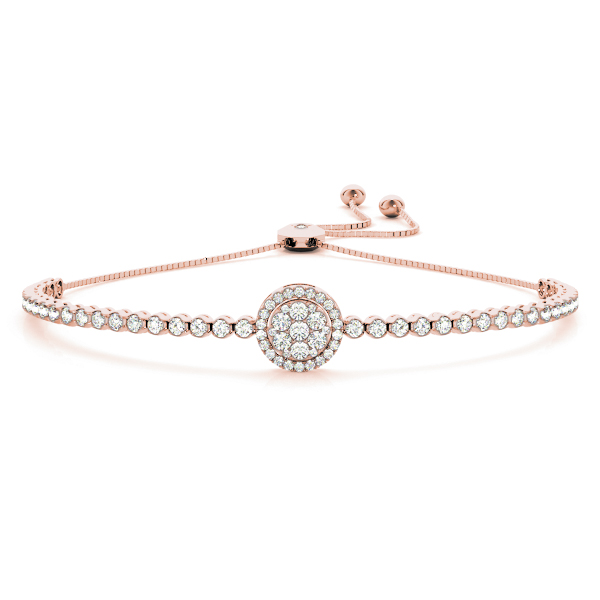 Double Halo Diamond Bracelet with Adjustable Band in Rose Gold