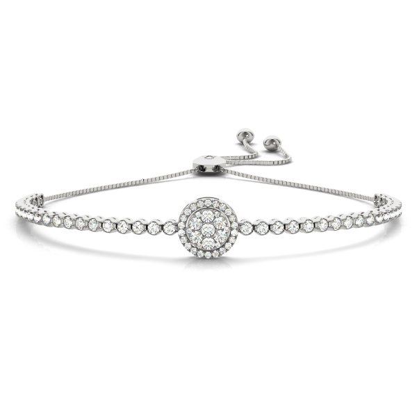 Double Halo Diamond Bracelet with Adjustable Band