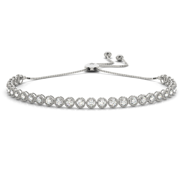 Bezel Diamond Adjustable Bracelet with Milligrain