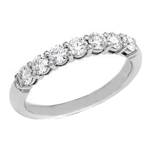Seven Stone Round Diamond Wedding Band 0.35 tcw. In Platinum