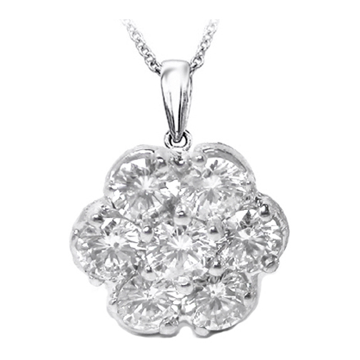 Round Diamond Flower Pendant 0.71 Carat