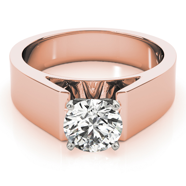 Wide Band Classic Solitaire Cathedral Engagement Ring in Rose Gold