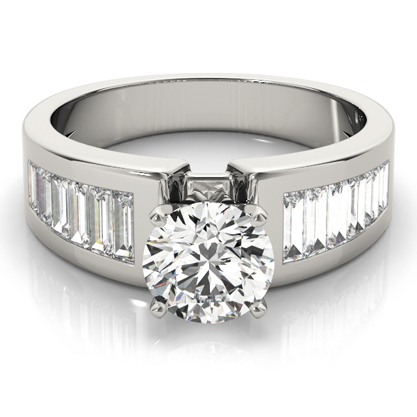 Wide Baguette Cut Diamond Engagement Ring with Tapered Band