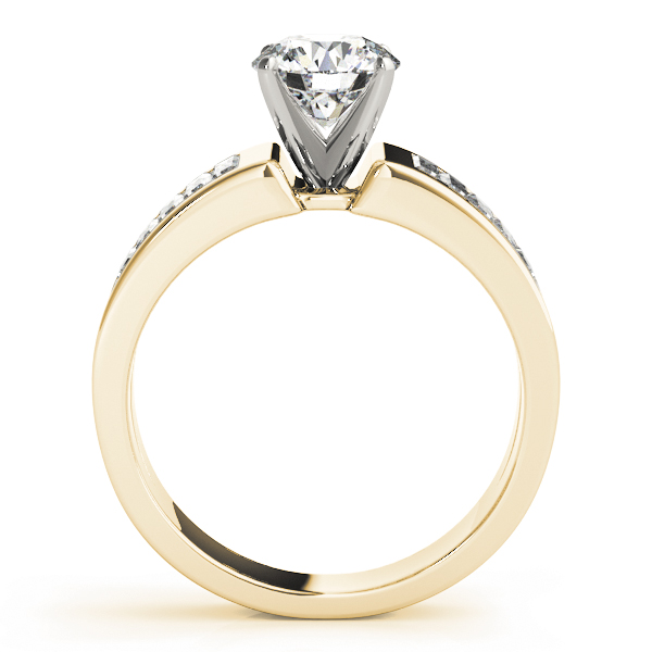 Wide Baguette Cut Diamond Engagement Ring with Tapered Band in Yellow Gold