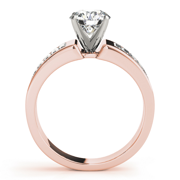 Wide Baguette Cut Diamond Engagement Ring with Tapered Band in Rose Gold