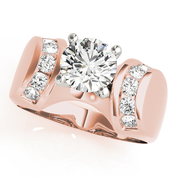 Huggie Channel Diamond Engagement Ring in Rose Gold