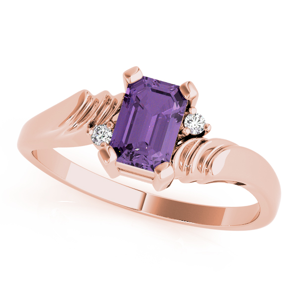 Emerald Purple Amethyst Swirl Ring Rose Gold