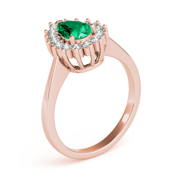 Pear Green Emerald Halo Diamond Ring Rose Gold