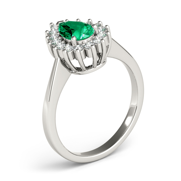 Pear Shaped Green Emerald Halo Diamond Ring